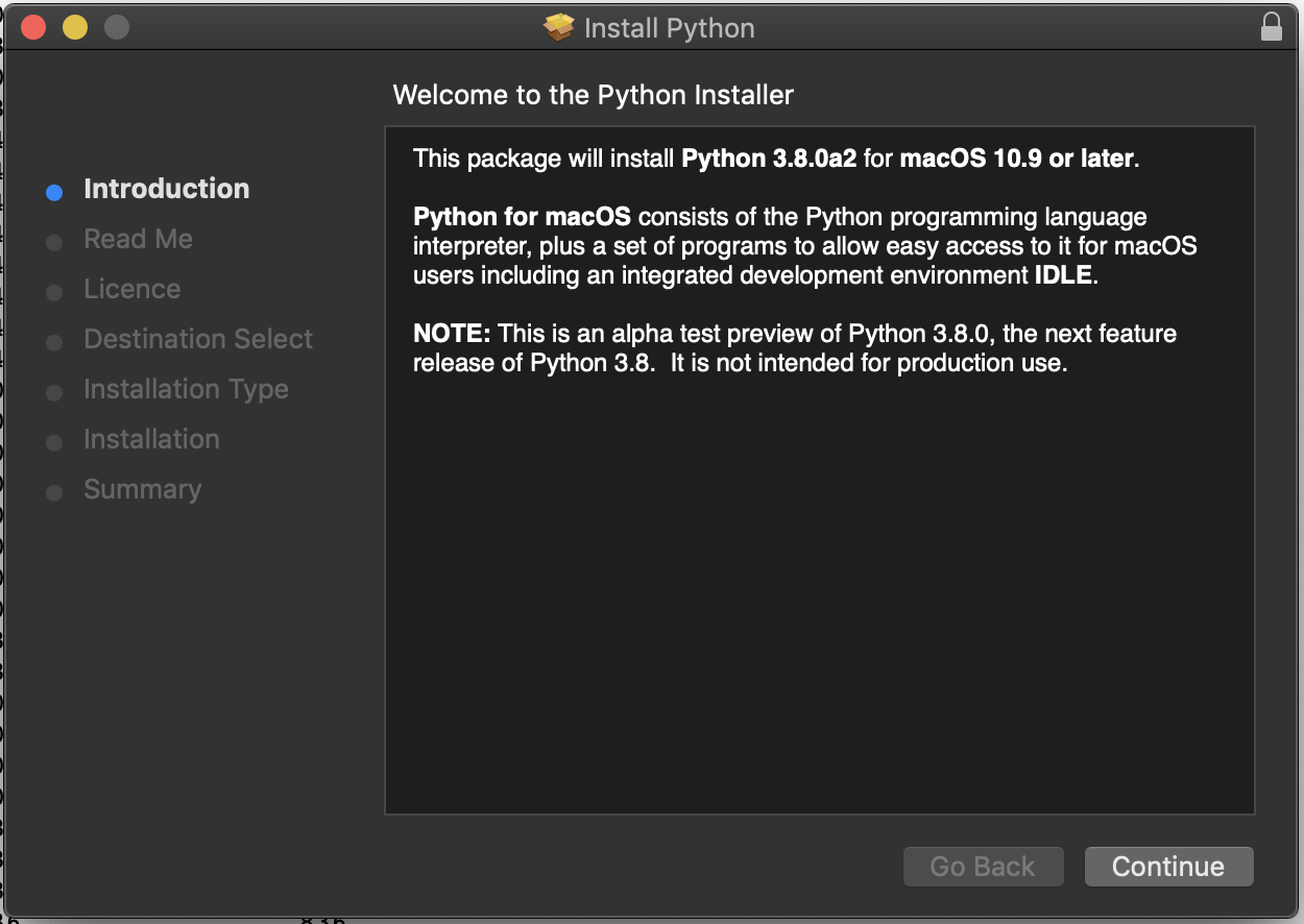 Install Python 3 8 alpha on Mac - installvirtual